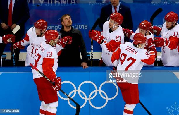 Pavel Datsyuk and Nikita Gusev of OAR celebrate with teammates during Men's Semifinal ice hockey match between the Czech Republic and Olympic...