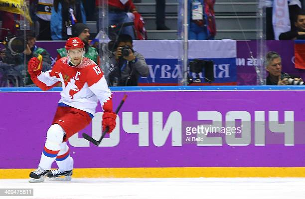 Pavel Datsyuk of Russia celebrates after scoring a secondperiod goal against the United States during the Men's Ice Hockey Preliminary Round Group A...