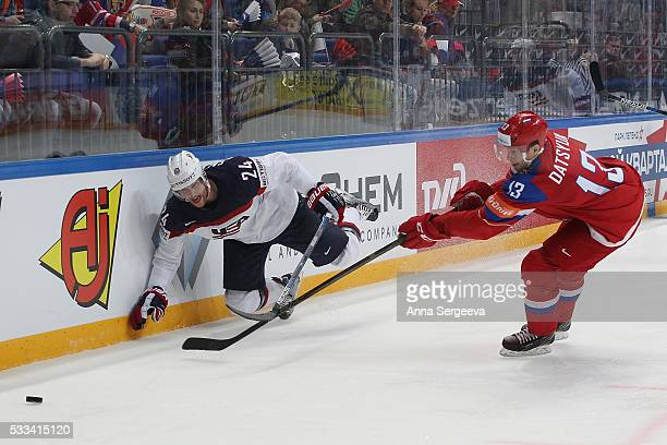 Pavel Datsyuk of Russia checks Hudson Fasching of the USA during the 2016 IIHF World Championship bronze medal game at the Ice Palace on May 22 2016...