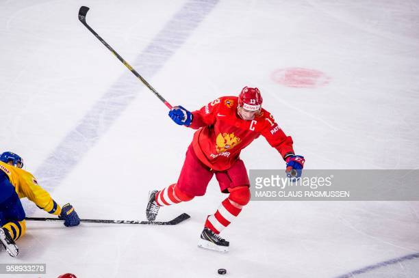 Pavel Datsyuk of Russia vies during the IIHF World Championship group A ice hockey match between Russia and Sweden in Royal Arena in Copenhagen on...