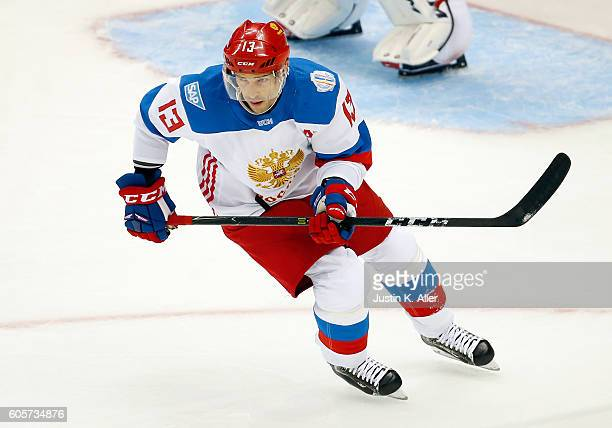 Pavel Datsyuk of Team Russia skates against the Team Canada at Consol Energy Center on September 14 2016 in Pittsburgh Pennsylvania