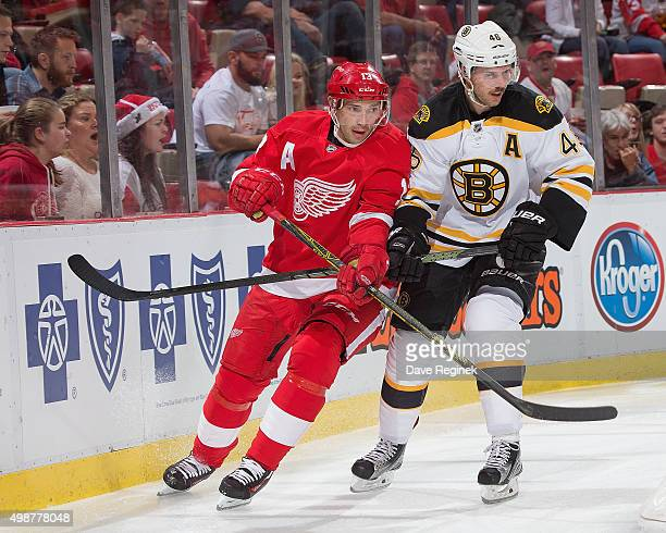 Pavel Datsyuk of the Detroit Red Wings battles for position with David Krejci of the Boston Bruins during an NHL game at Joe Louis Arena on November...