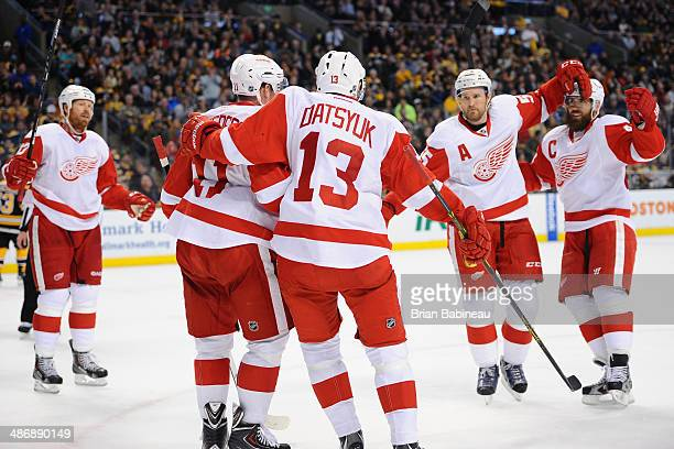 Pavel Datsyuk of the Detroit Red Wings celebrates his goal against the Boston Bruins in Game Five of the First Round of the 2014 Stanley Cup Playoffs...
