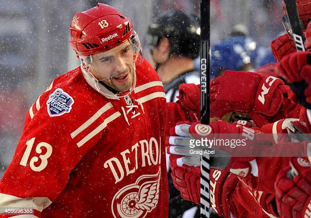 Pavel Datsyuk of the Detroit Red Wings celebrates his shootout goal against the Toronto Maple Leafs during the 2014 Bridgestone NHL Winter Classic...