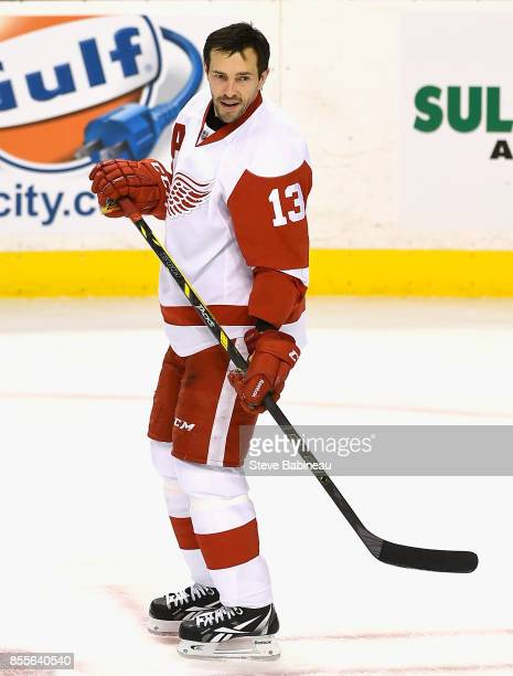 Pavel Datsyuk of the Detroit Red Wings plays in a game against the Boston Bruins at TD Garden on December 29 2014 in Boston Massachusetts