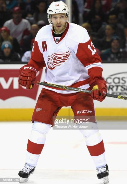 Pavel Datsyuk of the Detroit Red Wings plays in a game against the San Jose Sharks at SAP Center on February 26 2015 in San Jose California