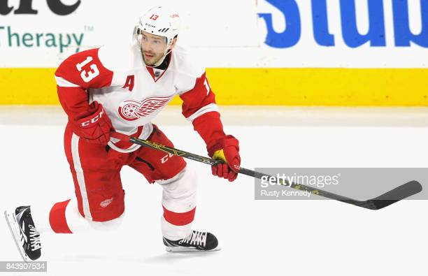 Pavel Datsyuk of the Detroit Red Wings plays in the game against the Philadelphia Flyers at the Wells Fargo Center on March 14 2015 in Philadelphia...