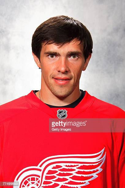 Pavel Datsyuk of the Detroit Red Wings poses for his 2007 NHL headshot at photo day in Detroit Michigan