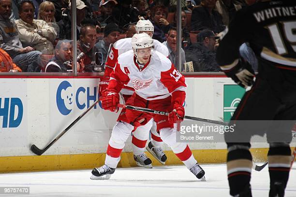 Pavel Datsyuk of the Detroit Red Wings skates during the game against the Anaheim Ducks at the Honda Center on January 5 2010 in Anaheim California