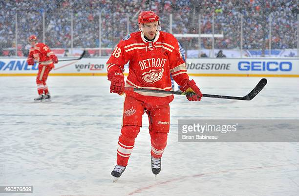 Pavel Datsyuk of the Detroit Red Wings skates in the third period during the 2014 Bridgestone NHL Winter Classic on January 1 2014 at Michigan...