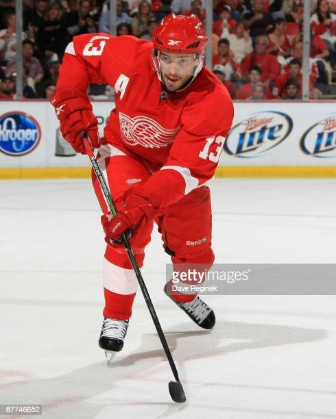 Pavel Datsyuk of the Detroit Red Wings skates up ice during Game Seven of the Western Conference Semifinal Round of the 2009 Stanley Cup Playoffs...