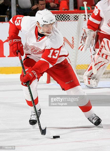 Pavel Datsyuk of the Detroit Red Wings skates up ice with the puck during an NHL game against Columbus Blue Jackets on November 9 2007 at Joe Louis...