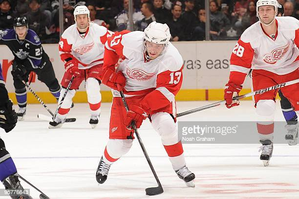 Pavel Datsyuk of the Detroit Red Wings skates with the puck against the Los Angeles Kings on January 7 2010 at Staples Center in Los Angeles...