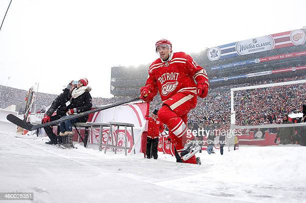 Pavel Datsyuk of the Detroit Red Wings takes the ice during the 2014 Bridgestone NHL Winter Classic at Michigan Stadium on January 1 2014 in Ann...