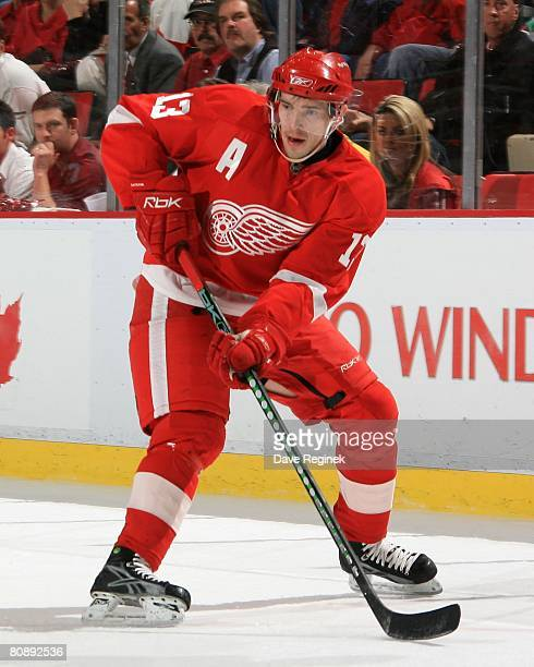 Pavel Datsyuk of the Detroit Red Wings waits for the pass while in the Colorado Avalanche zone during game one of the Western Conference Semifinals...