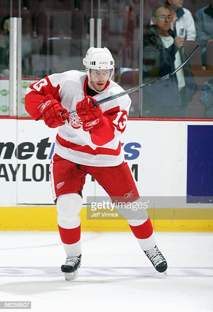 Pavel Datsyuk of the Detroit Red Wings warms up prior to taking on the Vancouver Canucks in an NHL game at General Motors Place on November 13, 2005...