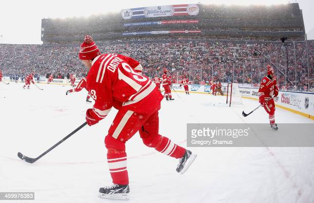 Pavel Datsyuk of the Detroit Red Wings warms up prior to the start of the 2014 Bridgestone NHL Winter Classic at Michigan Stadium on January 1 2014...