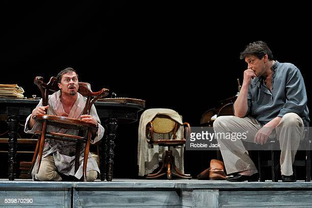 Pavel Derevyanko as Ivan Petrovich Voinitsky and Alexander Domogarov as Mikhail Lvovich Astrov in Moscow's Mossovet State Academic Theatre's...