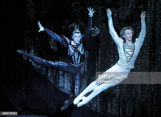 Pavel Dmitrichenko left and Semen Chudin in Act I 'Swan Lake' by the Bolshoi at the Music Center in downtown LA on Jun 07 2012