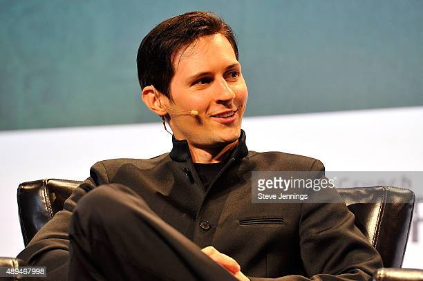 Pavel Durov CEO and cofounder of Telegram speaks onstage during day one of TechCrunch Disrupt SF 2015 at Pier 70 on September 21 2015 in San...