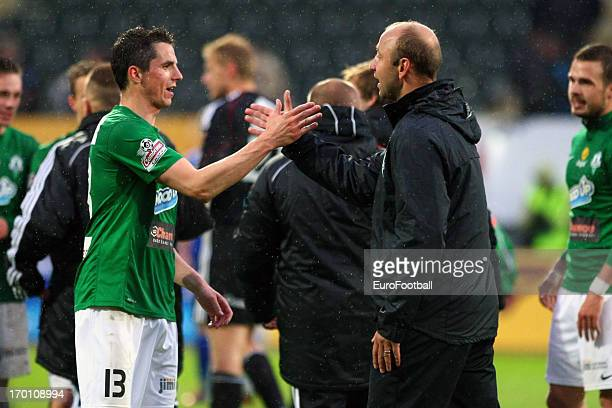 Pavel Elias of FK Jablonec celebrates victory at the end of the Czech First League match between FK Jablonec and SK Sigma Olomouc held on May 26,...