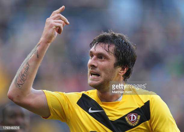 Pavel Fort of Dresden celebrates after scoring the second goal during the Second Bundesliga match between SG Dynamo Dresden and Alemannia Aachen at...