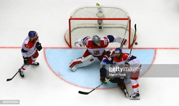Pavel Francouz goaltender of Czech Republic tends net against the United States during the 2018 IIHF Ice Hockey World Championship Quarter Final game...