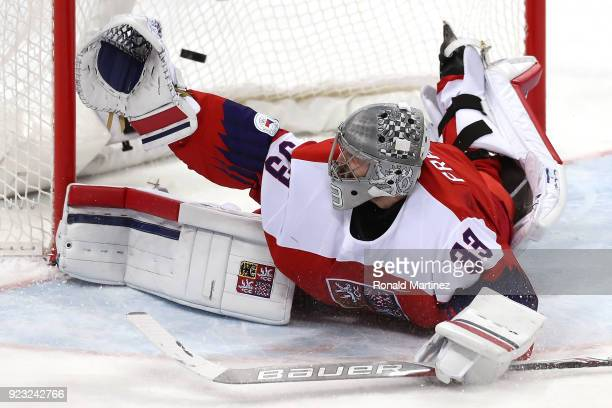 Pavel Francouz of the Czech Republic allows the second goal in the second period against Olympic Athletes from Russia during the Men's Playoffs...