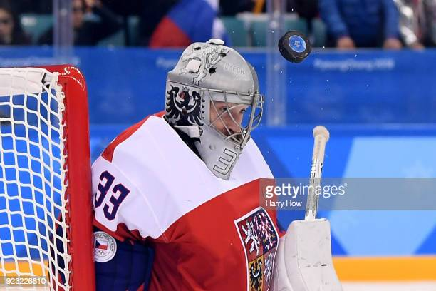 Pavel Francouz of the Czech Republic attempts to make a save in the first period against Olympic Athletes from Russia during the Men's Playoffs...