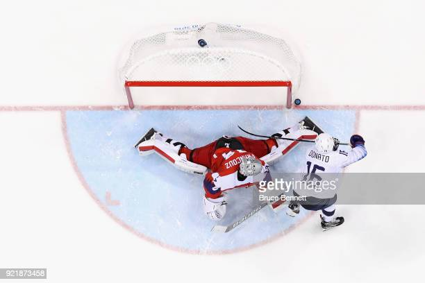 Pavel Francouz of the Czech Republic makes a save against Ryan Donato of the United States in the overtime penaltyshot shootout during the Men's...