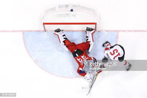 Pavel Francouz of the Czech Republic tends goal against Switzerland in the first period during the Men's Ice Hockey Preliminary Round Group A game on...