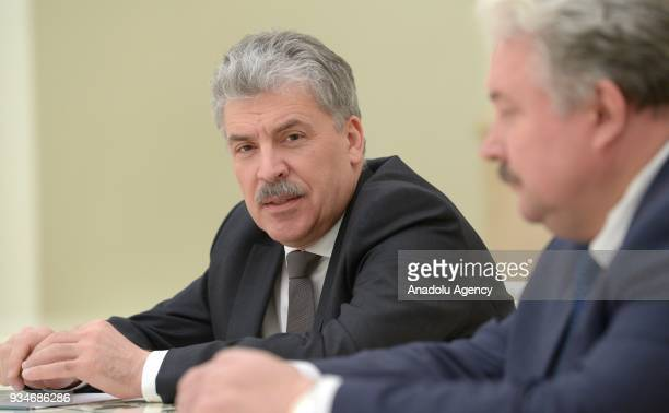 Pavel Grudinin presidential candidate from the Russian Communist Party presidential candidate from the Russian Liberal Democratic Party during a...