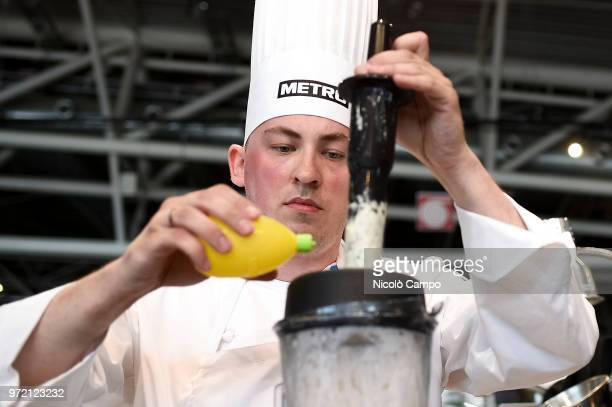 Pavel Gurjanov of Estonia cooks during the Europe 2018 Bocuse d'Or International culinary competition Best ten teams will access to the world final...