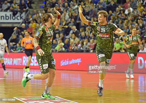 Pavel Horak and Paul Drux of Fuechse Berlin celebrate a goal during the game between Fuechse Berlin and GWD Minden on february 11, 2015 in Berlin,...