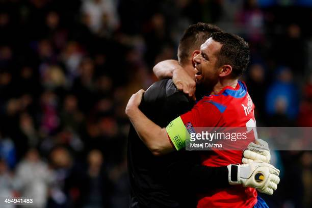 Pavel Horvath and Matus Kozacik of Plzen celebrate after winning in the UEFA Champions League group D match between PFC CSKA Moscow and Viktoria...