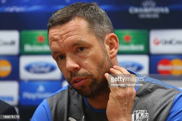 Pavel Horvath of Viktoria Plzen looks on during a press conference ahead of their Champions League group D match against FC Bayern Muenchen at Doosan...