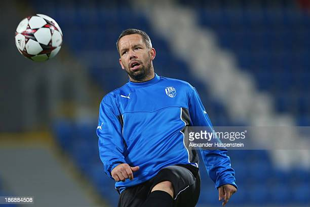 Pavel Horvath of Viktoria Plzen plays with the ball during a training session ahead of their Champions League group D match against FC Bayern...