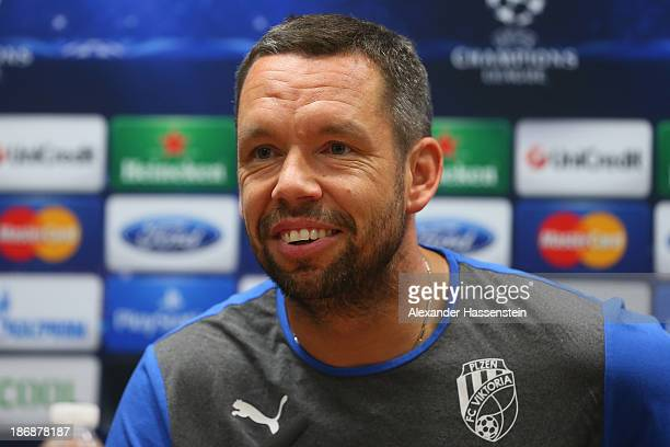 Pavel Horvath of Viktoria Plzen smiles during a press conference ahead of their Champions League group D match against FC Bayern Muenchen at Doosan...