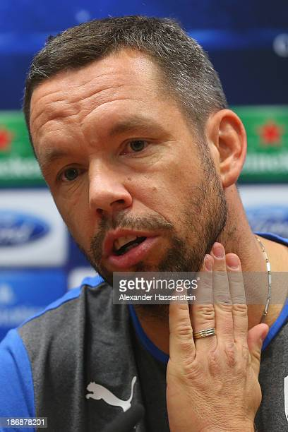 Pavel Horvath of Viktoria Plzen talks to the media during a press conference ahead of their Champions League group D match against FC Bayern Muenchen...