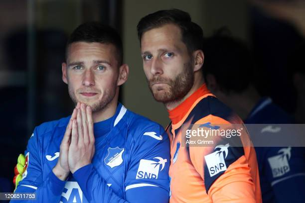 Pavel Kaderabek and goalkeeper Oliver Baumann of Hoffenheim wait in the tunnel for the Bundesliga match between TSG 1899 Hoffenheim and VfL Wolfsburg...