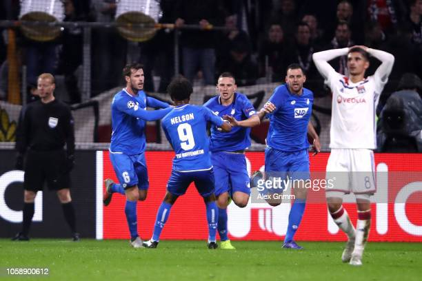 Pavel Kaderabek of 1899 Hoffenheim celebrates after scoring his team's second goal with his team mates during the UEFA Champions League Group F match...