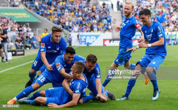 Pavel Kaderabek of Hoffenheim celebrates the third goal for his team with his teammates during the Bundesliga match between TSG 1899 Hoffenheim and...