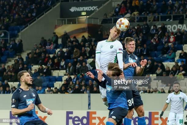 Pavel Kaderabek of Hoffenheim Felix Passlack of Hoffenheim and Marcelinho of Ludogorets battle for the ball during the UEFA Europa League group C...