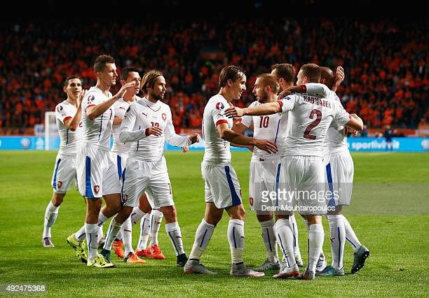 Pavel Kaderabek of the Czech Republic celebrates with team mates as he scores their first goal during the UEFA EURO 2016 qualifying Group A match...