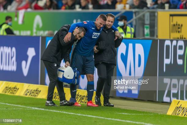Pavel Kaderabek of TSG 1899 Hoffenheim injured during the Bundesliga match between TSG Hoffenheim and 1. FC Köln at PreZero-Arena on October 15, 2021...