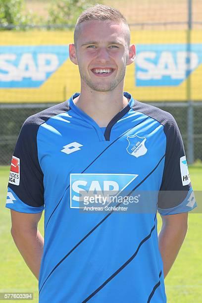 Pavel Kaderabek poses during the offical team presentation of TSG 1899 Hoffenheim on July 19 2016 in Sinsheim Germany