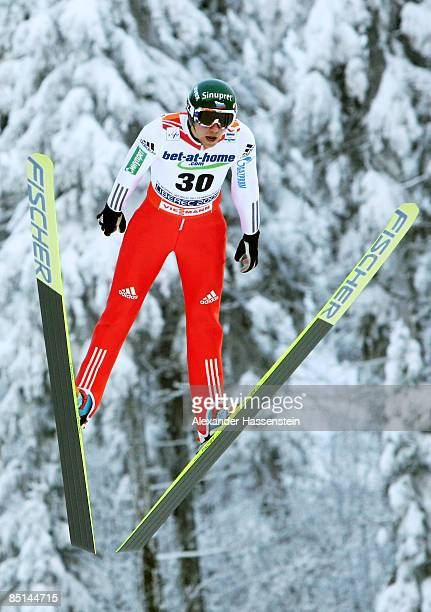 Pavel Karelin of Russia jumps during the Men's Ski Jumping Individual 134M Hill first round at the FIS Nordic World Ski Championships 2009 on...