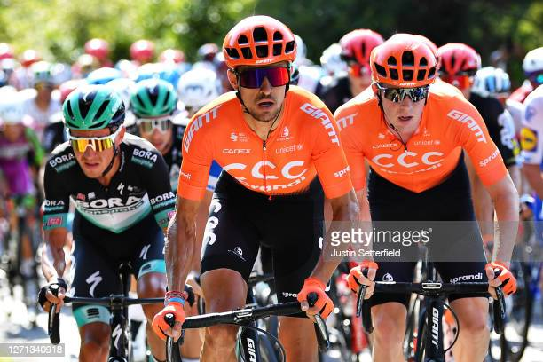 Pavel Kochetkov of Russia and CCC Team / Nathan Van Hooydonck of Belgium and CCC Team / Filippo Ganna of Italy and Team INEOS Grenadiers / during the...