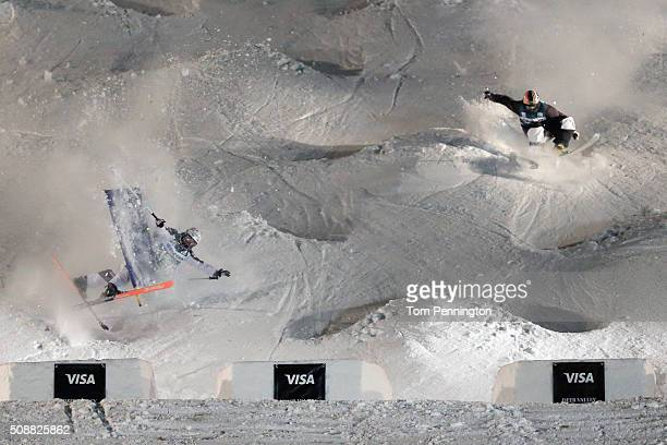 Pavel Kolmakov of Kazakhstan competes against Sacha Theocharis of France in the men's FIS Freestyle Skiing Dual Moguls World Cup at Deer Valley...