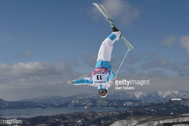 Pavel Kolmaov of Kazakhstan during day two of the Men's FIS Freestyle Skiing World Cup Tazawako on February 24 2019 in Senboku Akita Japan